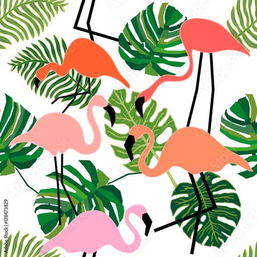 Materiał do szycia Flamingo w tropikalnym lesie.