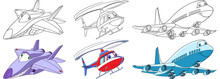 Cartoon Flying Transport Set. ...