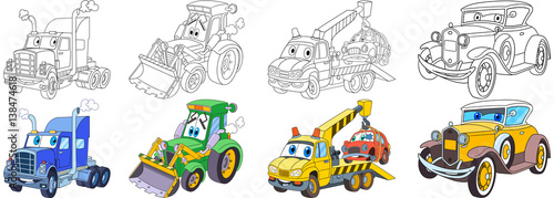 Foto op Canvas Cartoon cars Cartoon transport set. Collection of vehicles. Heavy semi truck (trailer, lorry), tractor (bulldozer), tow truck (evacuator), luxury retro old car. Coloring book pages for kids.