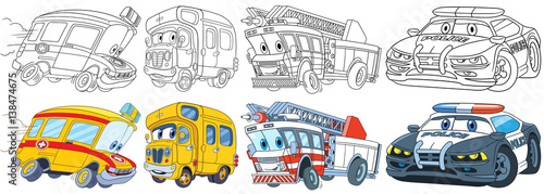 Cartoon transport set. Collection of vehicles. Ambulance, school bus, fire truck, police car. Coloring book pages for kids.