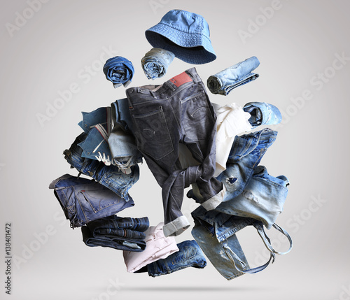 Fotografie, Obraz  Jeans clothing large selection of pants and other clothes