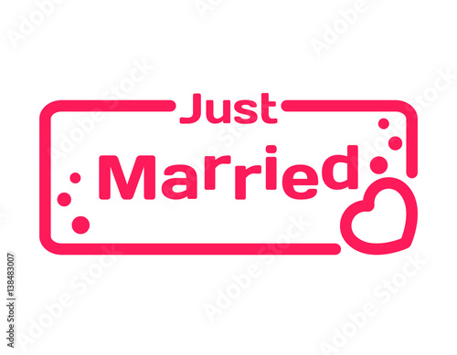 just married badge with heart icon flat vector illustration on white