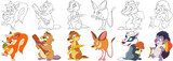 Fototapeta Fototapety na ścianę do pokoju dziecięcego - Cartoon animals set. Squirrel with acorn, beaver with wooden log, groundhog (marmot) with wheat ear, jumping jerboa, badger with mushroom, hedgehog with mushroom. Coloring book pages for kids.