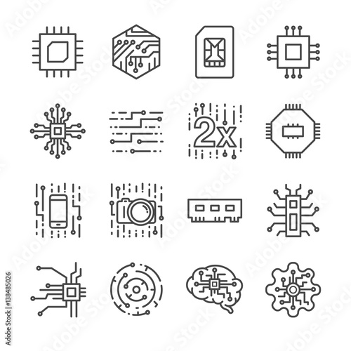 Cuadros en Lienzo  Digital chip processor icons set