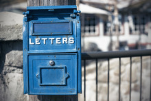 America, Traditional Old Blue Mail Box, USA