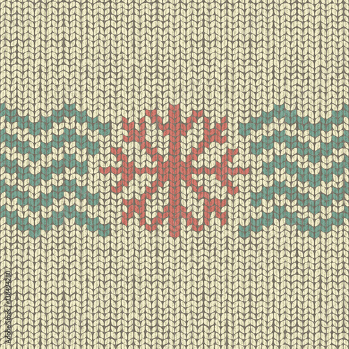 Knitting Pattern With Snowflake And Shevron Texture Wool Textile