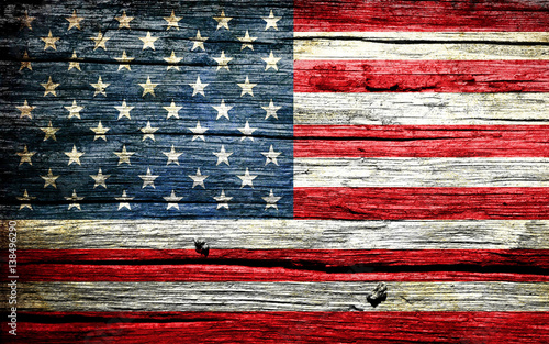 Photographie American flag on old background retro effect