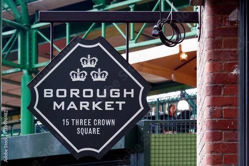 Sign of Borough Market in London Canvas Print