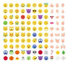 Flat Style Emoji Emoticon Icon Set