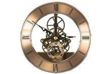 Clockwork, Vintage Bronze Clock Isolated On White Background