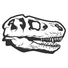 T-rex Dinosaur Skull Isolated On White Background. Images For Logo, Label, Emblem. Vector Illustration.