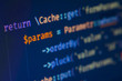 Php code on blue background close up, pixels