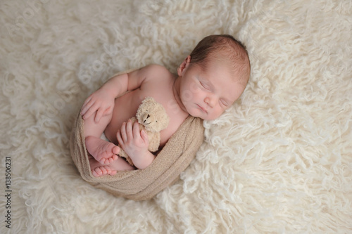 Newborn Baby Boy With Plush Bear Toy Buy This Stock Photo And
