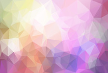Abstract Low Poly Background. Pattern Of Triangles. Polygonal Design. Stretching To The Black. Pink, Yellow, White. All Colors Of The Rainbow. Raster Copy