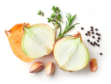 Onions And Spices On White Background