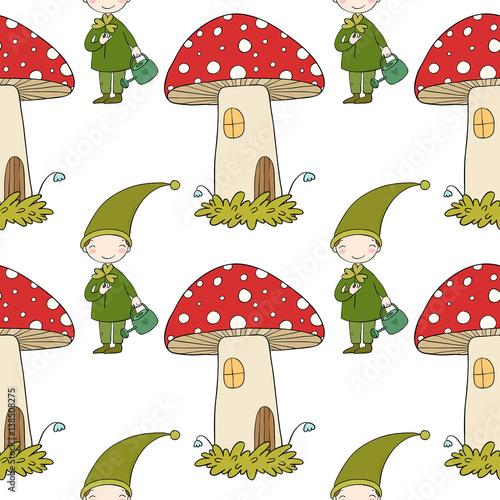 Fotografie, Obraz  Pattern with cute elves and a mushroom house.