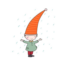 Cute Little Gnome. Elf And Rain. Isolated Objects On White Background.