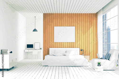 3D rendering : illustration of big spacious bedroom in soft ...