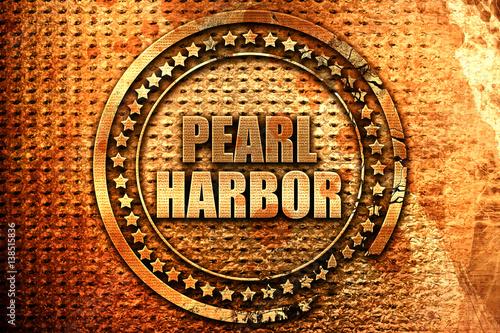 Photo  pearl harbor, 3D rendering, metal text