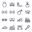 Set of 16 heavy outline icons