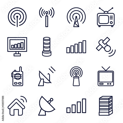 Valokuva  Set of 16 antenna outline icons