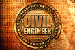 civil engineer, 3D rendering, metal text