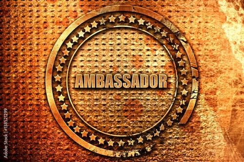Photo ambassador, 3D rendering, metal text