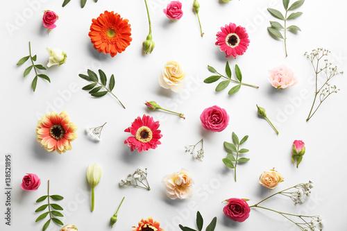 Fotobehang Gerbera Flat lay of fresh flowers on white background