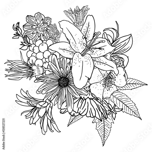 Doodle floral drawing seamless pattern wallpaper. Art ...