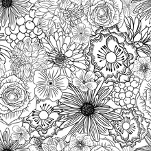 Doodle Floral Drawing Seamless Pattern Wallpaper. Art Therapy Coloring Page For Adults. Endless Flowers Repetition. Vector.