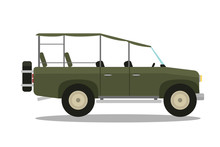 Vector Safari Travel Compass, Rifle, Binoculars And Jeep Car.