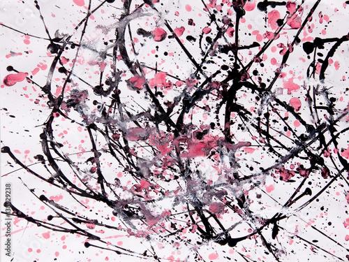 Abstrakcyjny wzór ekspresjonizmu. Styl malowania kroplowego. Czarna, czerwona i biała farba.
