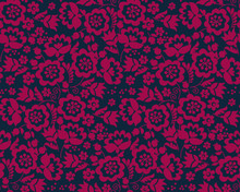 Simple Floral Decorative Seamless Pattern Inspired By Ukrainian Folk Culture. Monochrome Red Flower Repeatable Element For Cloth, Fabric, Background, Wrapping Paper