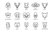Set Line Icon. Pack Outline Symbols Head Of Wild Animal.