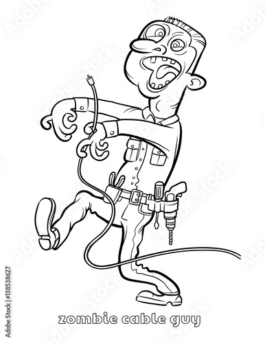 Funny Zombie Cable Guy Coloring Page
