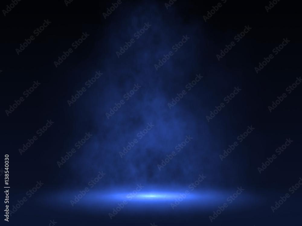 Fototapety, obrazy: Empty scene with Blue spotlight and smoke - 3d rendering