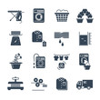 set of black icons laundry service production process