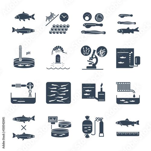 Photo set of black icons aquaculture production process, fish farming