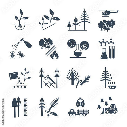 set of black icons forestry and silviculture production process Wallpaper Mural