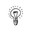 Hand-drawn doodle vector light bulb
