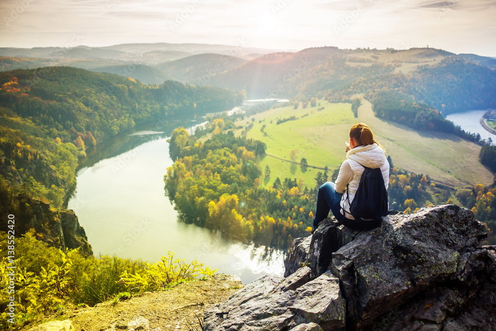 Fotografie, Obraz  Girl looking at Vlatava river in Czech Republic