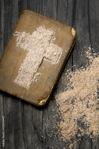 Old Bible And Cross Of Ash Symbols Of Ash Wednesday Buy This