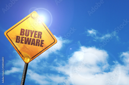 buyer beware, 3D rendering, traffic sign Canvas Print