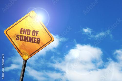 Fotografía  end of summer, 3D rendering, traffic sign