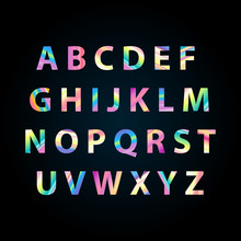 The Color Rainbow Alphabet With Gradient Parrot Letters. Capital Brigt Letters. Perfect For Logo, Signboard, Business Cards. Vector Illustration