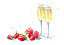 Strawberries And Champagne. Pi...