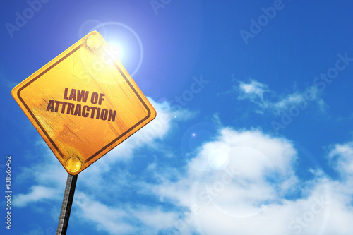 Foto  law of attraction, 3D rendering, traffic sign