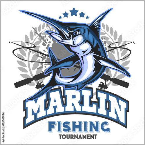 Photo  Blue marlin fishing logo illustration. Vector illustration.