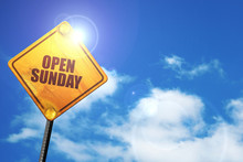 Open Sunday, 3D Rendering, Traffic Sign