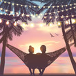 Couple in love at the beach on hammock. Background in beach style